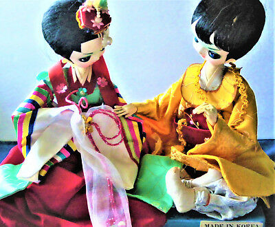 Vintage Pair of Ethnic Korean Asian Traditional Costume Wedding Dolls Figurine