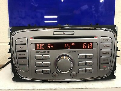 Ford 6000 Focus C-Max Galaxy Etc Silver Cd Car Radio Stereo Cd Player With Code