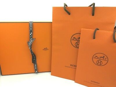 """Authentic Hermes Empty BOX Gift Box (8.6""""x14.9""""x0.8) with Ribbon Shop Bagx2"""