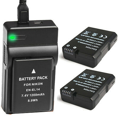 2x Battery + USB Charger for Nikon EN-EL14 D3100 D3200 D5100 P7000 P7100 UK