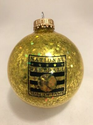 Baseball Hall Of Fame Christmas Ornament Cooperstown NY MLB HOF Gold Glitter