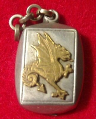 Antique watch Fob Silver with Gold Dragon