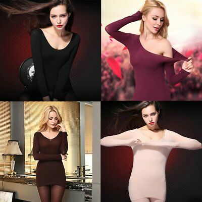 Women Thermal Underwear Heat-generating Tops+Bottoms Body Shaping Round Neck PA