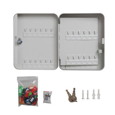 Solid Steel 48 Hook Key Safe Box &Tag Lock Storage Case Cabinet Wall Mount Home