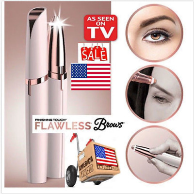 Electric Finishing Touch Flawless Brows Trimmer Hair Remover Eyebrow LED Light