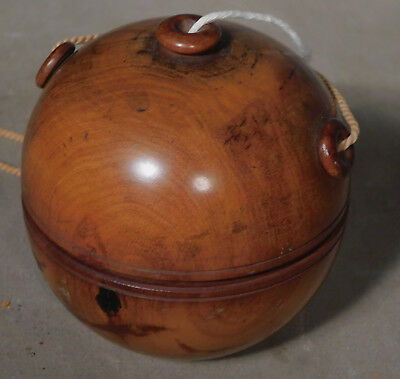 Antique Lignum Vitae Olive Wood String Thread Holder TREEN Orb Ball Sewing Tat