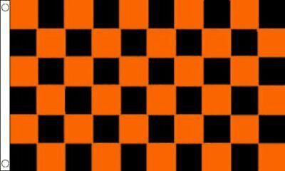 Tangerine and Black Checkered 5ft x 3ft (150cm x 90cm) Flag