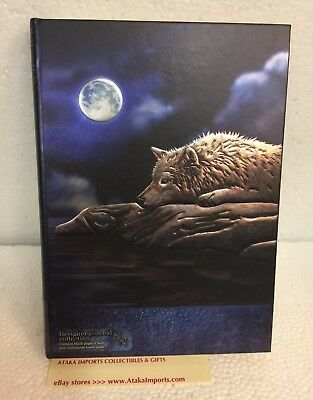 Hard Cover Embossed Blank Journal Sketchbook Wolf by the Moon Lisa Parker 5 x 7""