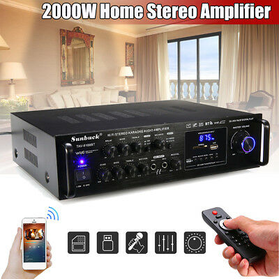 2000W Bluetooth Power Amplifier HiFi Stereo Surround Home Karaoke 240V AU STOCK