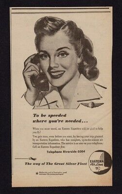 1944 Eastern Air Lines Newsp. Ad - Lovely Eastern Expediter Featured