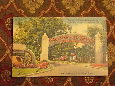 Vintage Postcard Entrance To The Fountain Of Youth, St. Augustine, Fla.