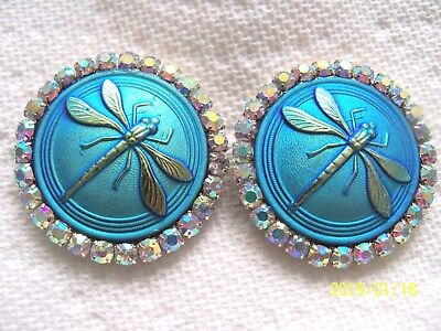 REDUCED CZECH GLASS BUTTONS (2 pcs) 38mm  DRAGONFLY WITH RHINESTONES