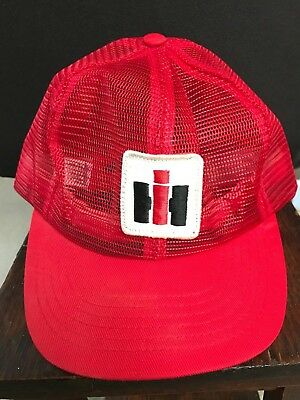 Vintage Red IH International Harvester Mesh Trucker Hat Cap Made in the USA