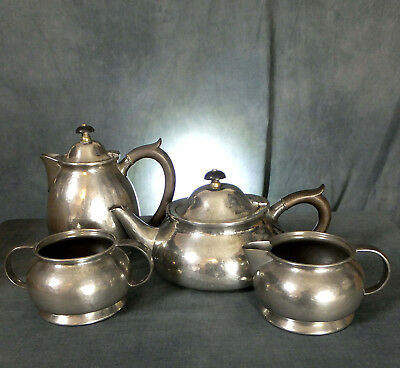 SUPERB TUDRIC ARCHIBALD KNOX Des. PEWTER FOUR PIECE TEA SET for LIBERTY # 01075