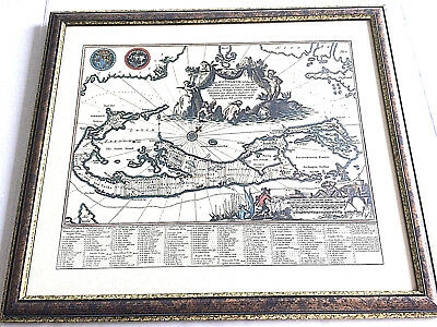 Antique Map of Bermuda Mappa Aestivarum Insularum Alias Barmudas Framed Replica