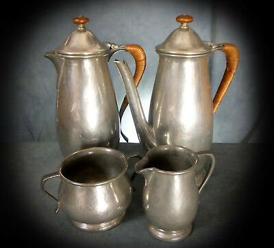 SUPERB TUDRIC PEWTER FOUR PIECE COFFEE SET for LIBERTY # 01384
