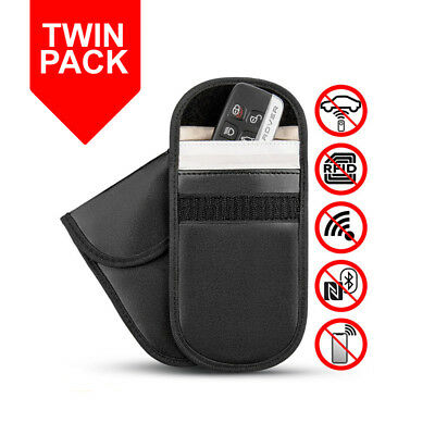 2 x Car Key Signal Blocker Case Keyless Protector Blocking Sleeve Faraday Bag