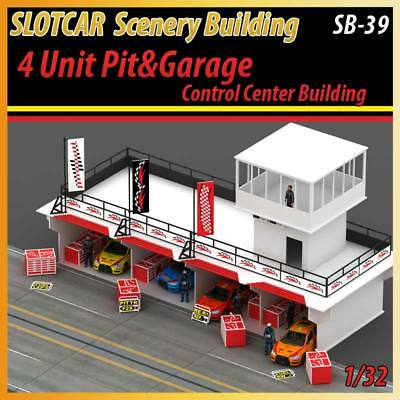 Slotcar Scenery Building 4 Unit Pit&Garage for 1:32 scalextric,carreara tracks