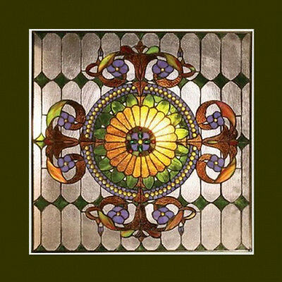 "Window Panel Victorian Design Tiffany Style Stained Glass 25"" Wide x 25"" High"