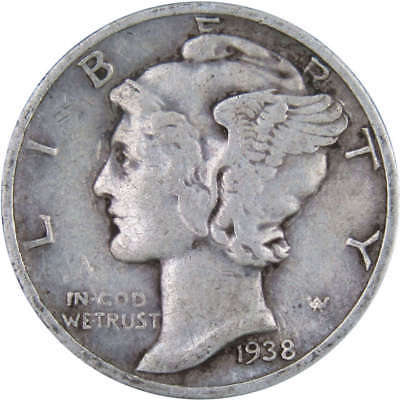 1938 D Mercury Dime Average Circulated