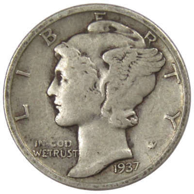 1937 D Mercury Dime Average Circulated
