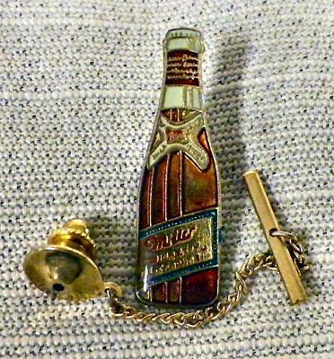 Miller Beer Bottle Tie Tack Pin and Chain Clasp