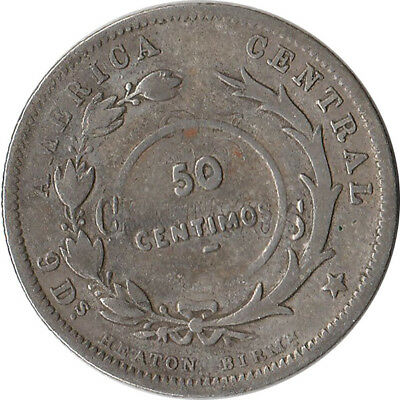 1923 Costa Rica 50 Centimos Counterstamp on 1890 25 Centavos Silver Coin KM#159