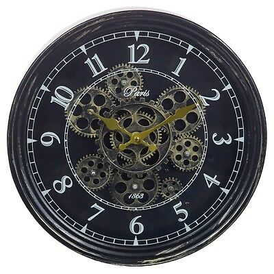 Large Wall Clock Rotating Gears Cogs Metal Novelty Antique Vintage Mechanical