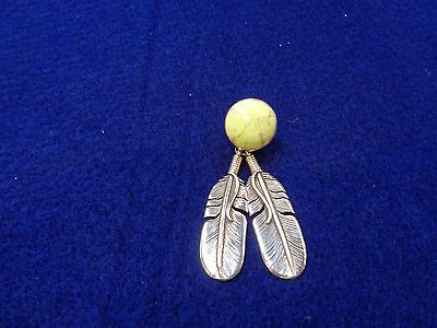 Navajo Pendent Gaspeite stone and Feathers handmade Hallmark is a feather