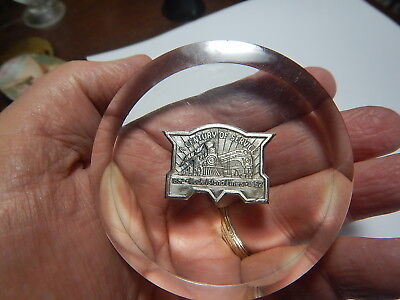 Rock Island Railroad paperweight, 1852-1952 train metal in lucite old estate