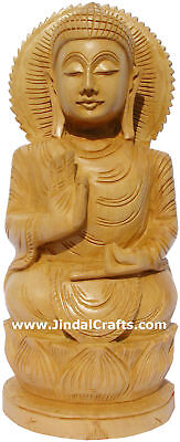 Handmade Sculpture Gautam Buddha Figurine Indian Art Hand Carved Buddhism Crafts