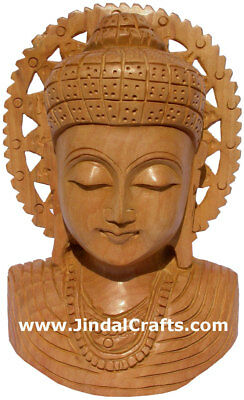 Wood Sculpture Handmade Buddha Bust Statuette India Art Handicrafts Buddhism Art