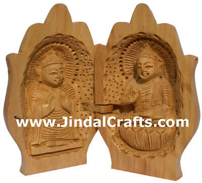 Handmade Wood Buddha Namastey Figure India Buddhist Art Handicrafts Sculptures