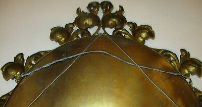 Vintage Victorian Style Ornate Small Oval Brass Wall Mirror