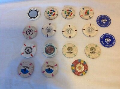 Lot Of 15 Casino Chips Atlantic City & 2 Vote Yes Chips 1974 Ac Resorts Harrahs+