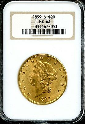 1899 S $20 NGC MS 63 (MINT STATE) Liberty Head Double Eagle $20 Gold Coin AD592