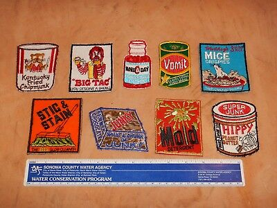 LOT OF 9 VINTAGE ORIGINAL 1970s COMIC PATCHES,  WACKY PACKAGES STYLE, NOS