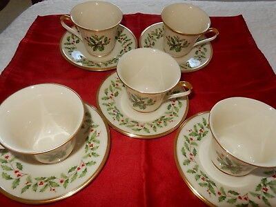 Lenox Holiday China Cup and Saucer Sets
