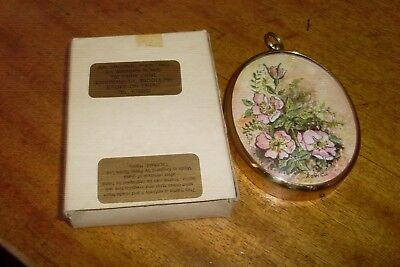 Vintage Miniature Floral Painting 'Wild English Rose' -Marian Rowe -Brass Frame
