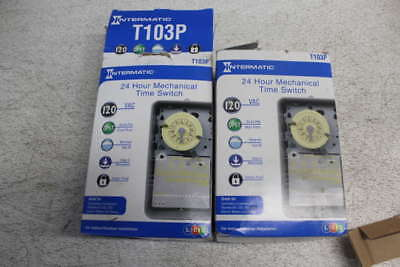 Lot of 2 Intermatic 120-240Vac 40A 24hr Mechanical Time Switch T103P