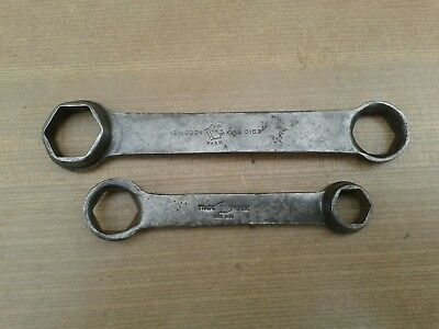 King Dick, 2 X Vintage King Dick, Hex Ended Toolkit Spanners, Classic Car Tools,