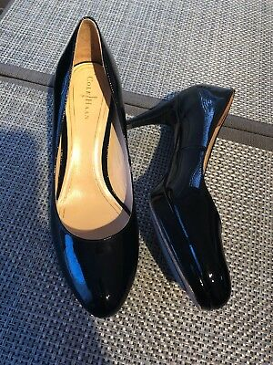 4030fd8cbb64 COLE HAAN BLACK Patent Leather Slingback Peep Toe Pumps Heels Shoes ...