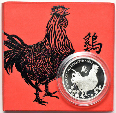2017 1oz Silver Lunar Year of the Rooster United Kingdom Proof 2 £ Proof Coin