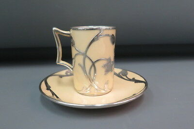 Antique Lenox Porcelain & Sterling Silver Overlay Chocolate Cup & Saucer c. 1910