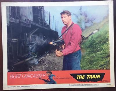Burt Lancaster with machine gun by railroad The Train lobby 1965 # 8 card 2290