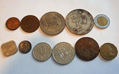 Lot Of 95 Foreign World Coins & Paper Bills