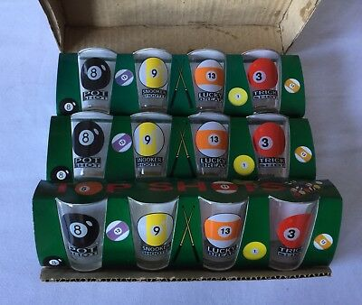 BNIB Vintage Snooker Shot Glasses Set Of 12