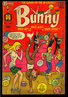 Bunny #1 First issue Silver Age Teen Humor Harvey Giant Comic 1966 GD+