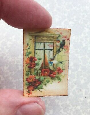Dollhouse miniature Bird sign 1:12 picture flowers birds by victorian window