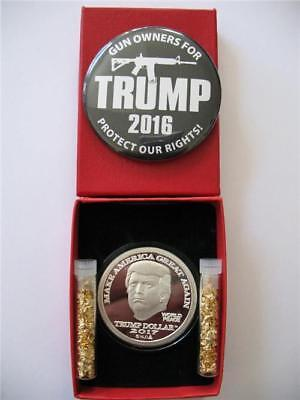1-Oz.999 Silver Donald J Trump 45Th President Make America Great Again Coin+Gold